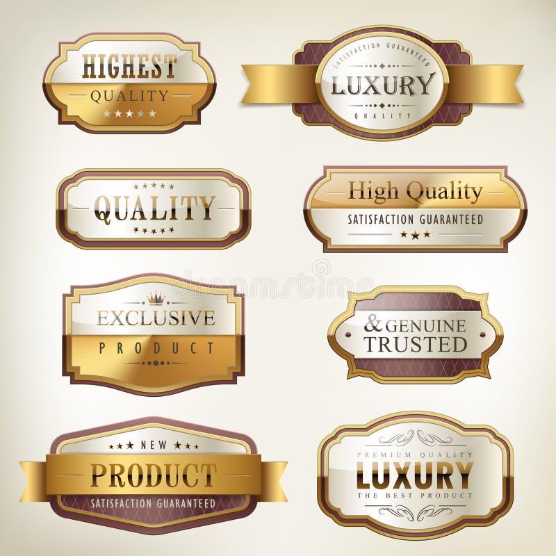 豪华优质质量金黄板材收藏 库存例证