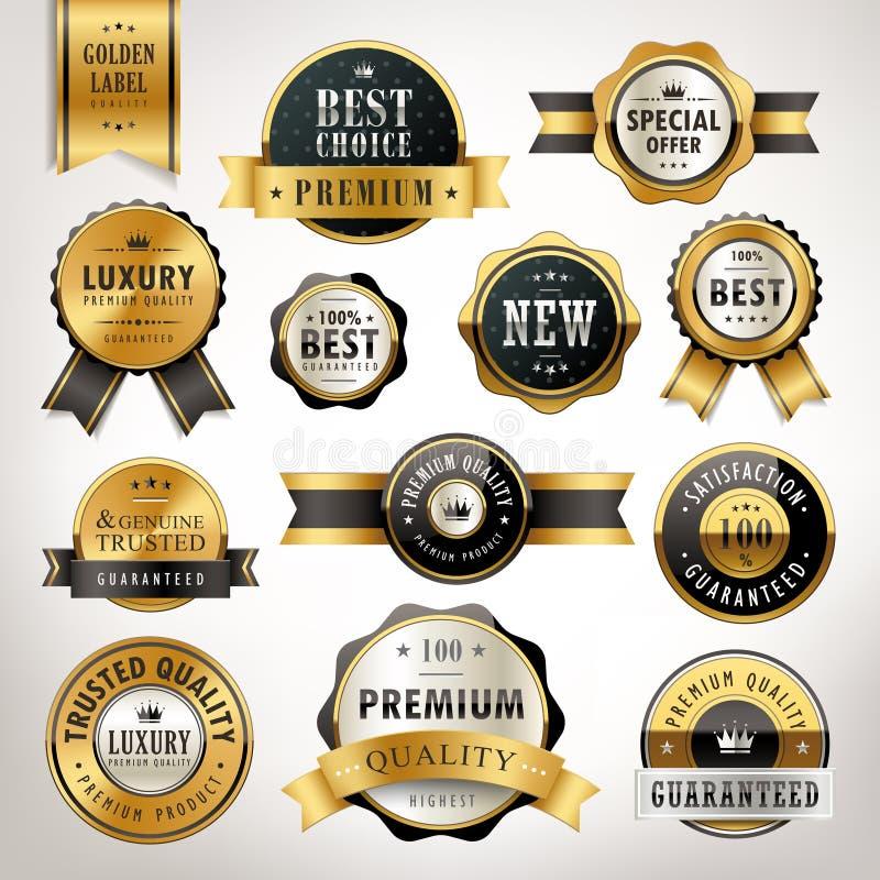 豪华优质质量金黄标签收藏 向量例证