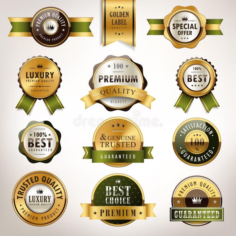 豪华优质质量金黄标签收藏 皇族释放例证