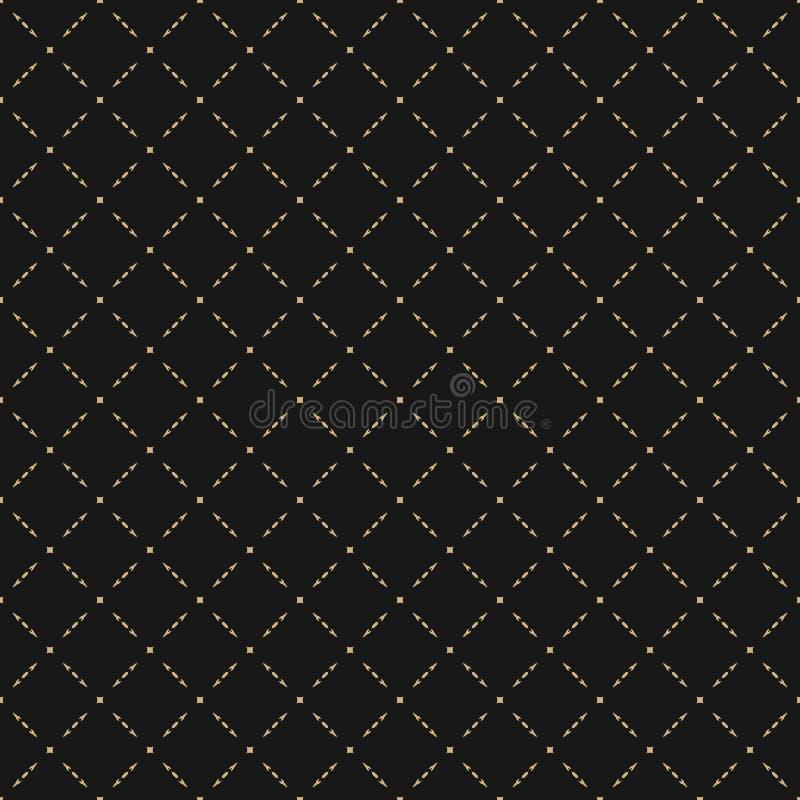 豪华传染媒介纹理 金和黑摘要几何无缝的样式 向量例证