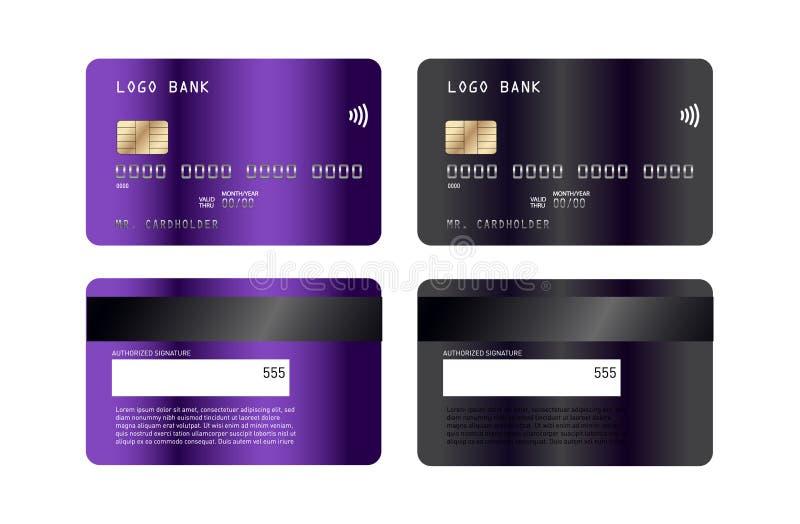 豪华信用卡模板设计 从摘要的启发 也corel凹道例证向量 信用借记卡mockupn 向量例证