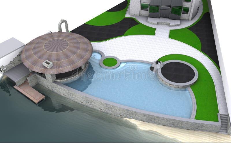 豪华假日别墅环境美化由湖边平地的,3D回报被隔绝在白色背景 向量例证