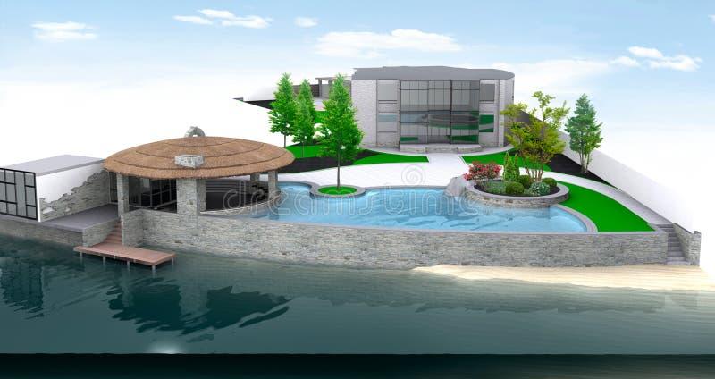 豪华假日别墅环境美化由湖边平地的,3D回报 库存例证