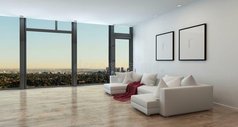豪华公寓内部有城市视图 免版税库存照片