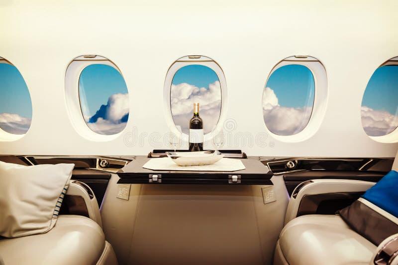 豪华内部航空器企业航空 免版税库存图片