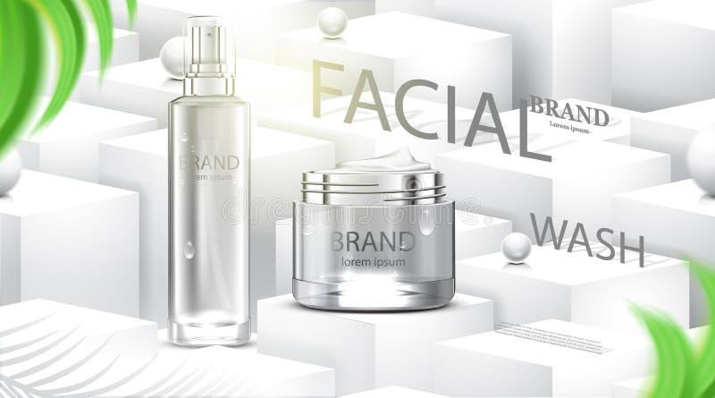豪华化妆瓶包裹皮肤护理奶油,秀丽化妆品海报,与立方体和白色背景 库存例证