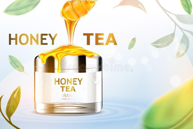 豪华化妆瓶包裹皮肤护理奶油,秀丽化妆品海报,用在水和叶子的蜂蜜在森林Backgrou里 向量例证