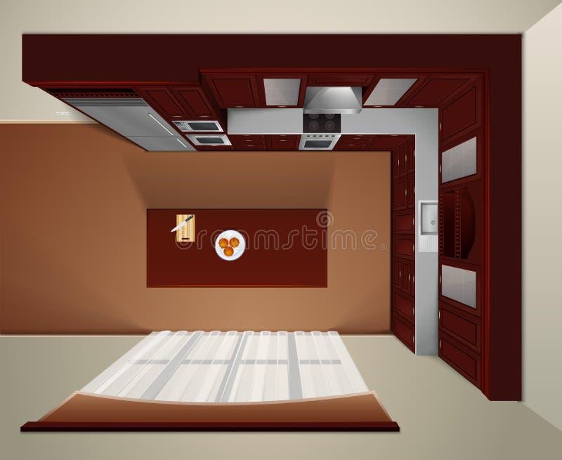 豪华厨房顶视图现实图象 皇族释放例证