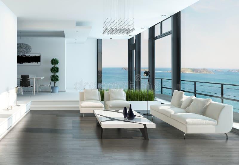 豪华客厅内部有白色长沙发和海景视图 向量例证