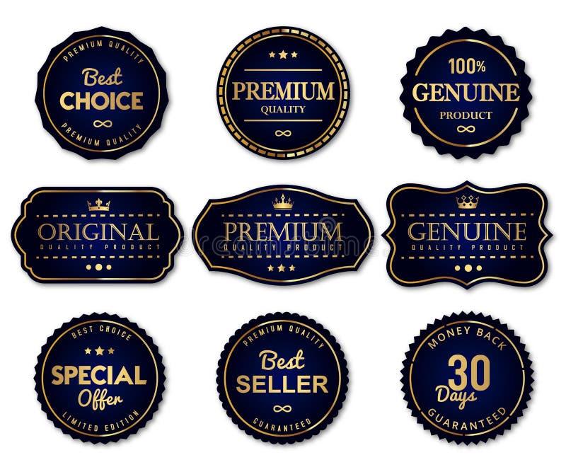 豪华封印标签和优质合格品 向量例证