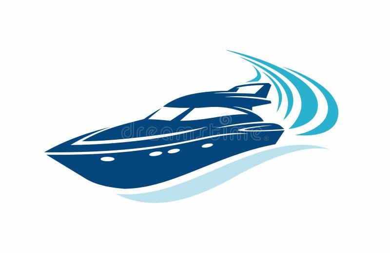 豪华小船小船在蓝色海洋 皇族释放例证