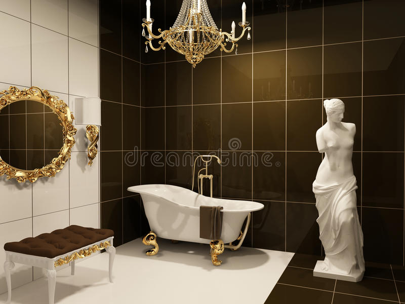 豪华巴洛克式的卫生间的家具 向量例证
