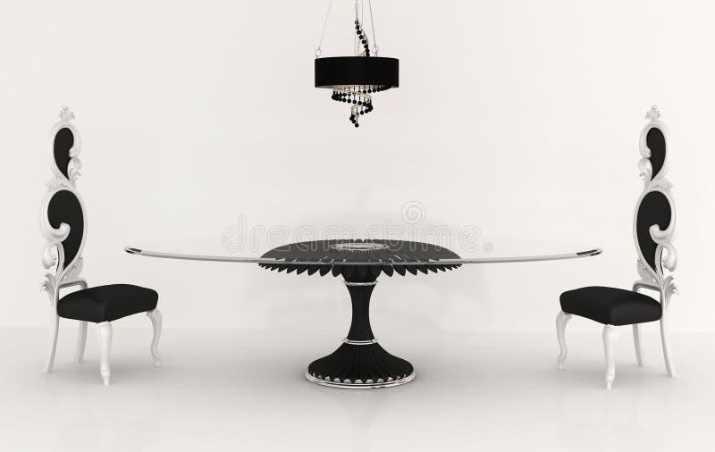 豪华巴洛克式的椅子的家具 库存例证