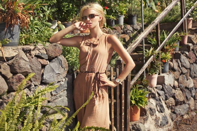 豪华性感的金发碧眼的女人时尚画象  库存图片