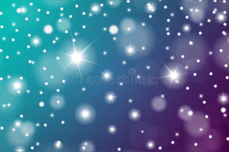 豪华或圣诞节贺卡的抽象微粒作用 闪耀的纹理 雪和星在蓝色和绿松石backgroun 库存例证