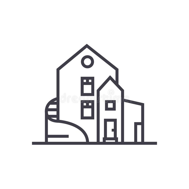 豪华房子,分隔的豪宅传染媒介线象,标志,在背景,编辑可能的冲程的例证 向量例证