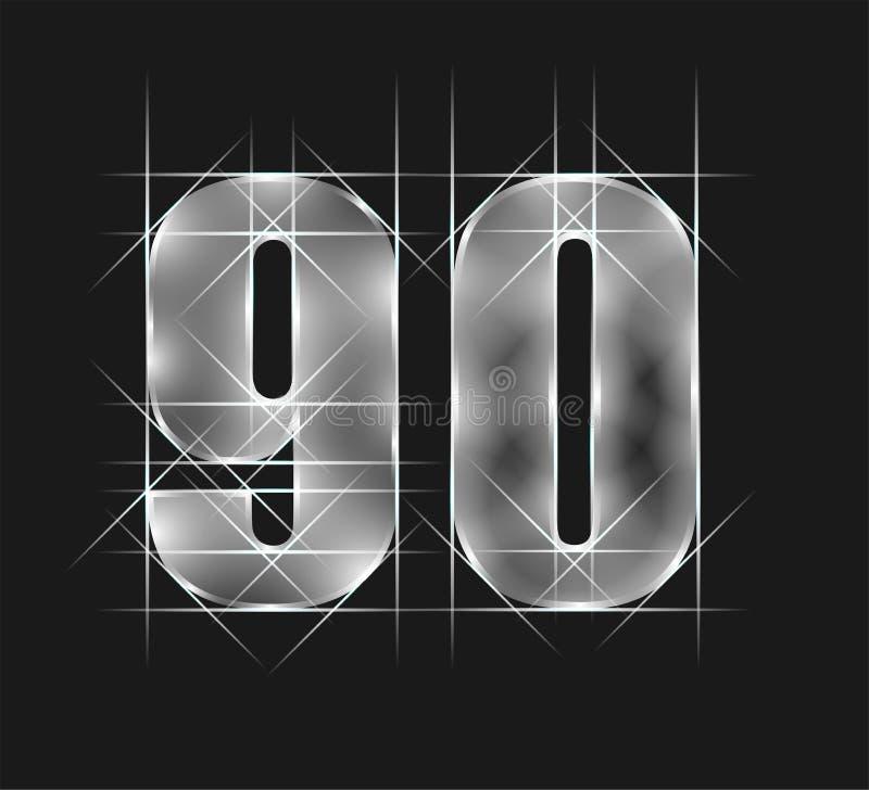 豪华摘要发出火花鲜绿色水晶玻璃第90九十个字符 灰色口气背景 r 库存例证