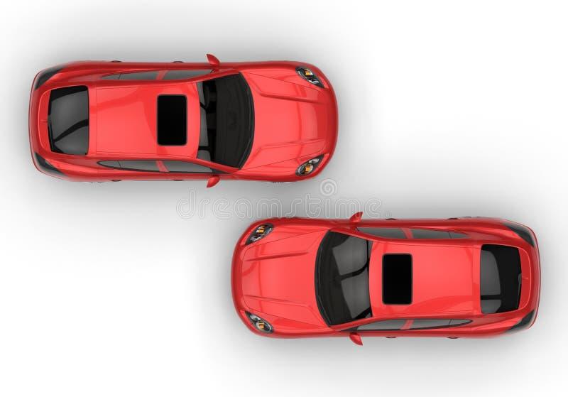 豪华斜背式的汽车汽车顶视图 库存例证