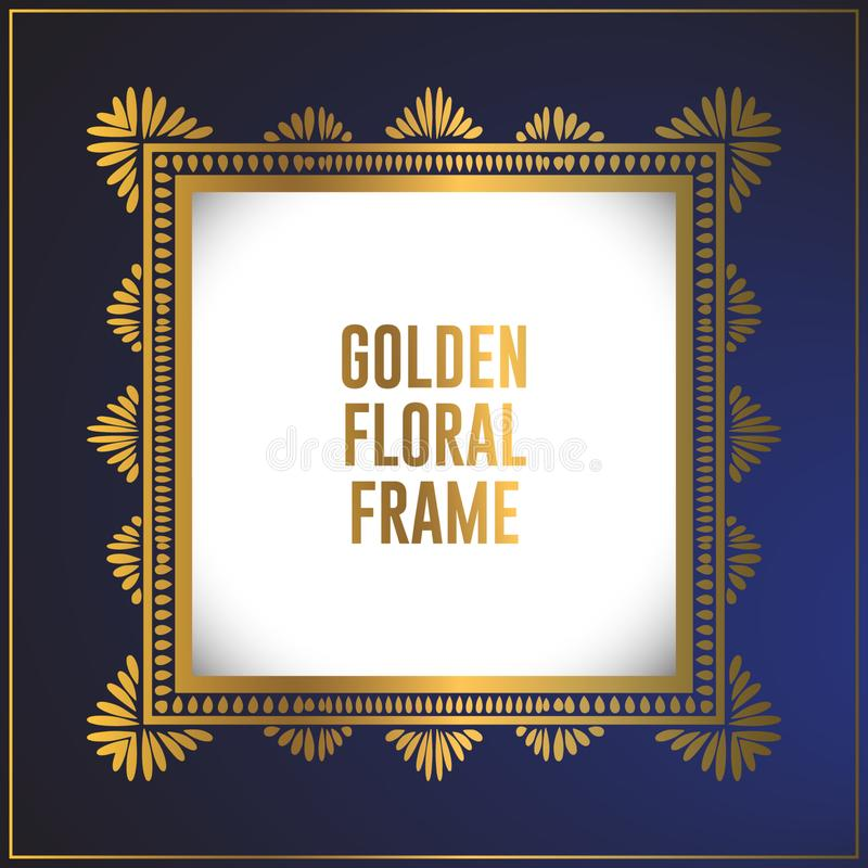 豪华方形的金黄花饰框架设计 金框架与豪华花饰的背景设计 向量例证