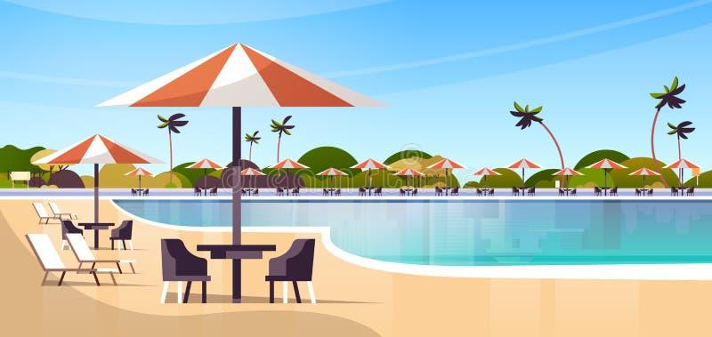 豪华旅馆与伞书桌和椅子餐馆家具的游泳场手段在暑假概念附近 向量例证