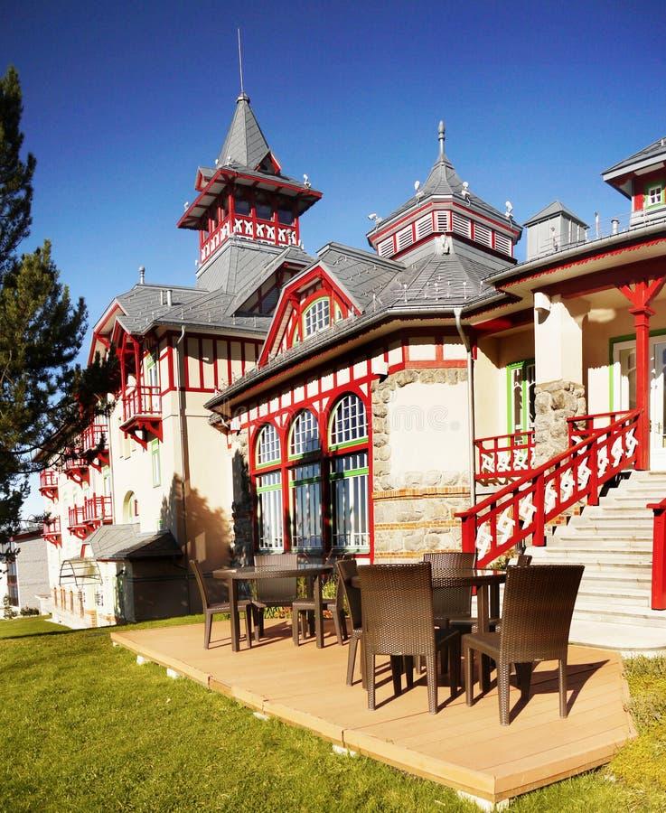 豪华旅馆Strbske普莱索,高Tatras 免版税库存图片