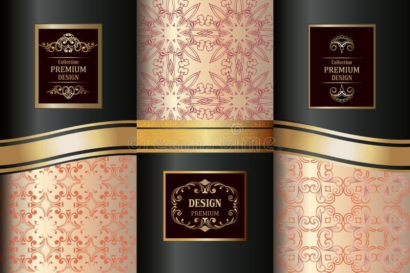 豪华无缝的样式桃红色和金子的汇集 葡萄酒别针 皇族释放例证