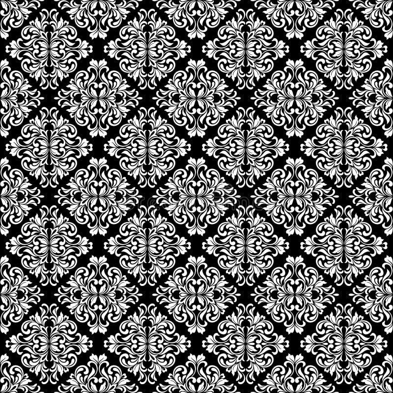 豪华无缝的样式 在黑背景的白色华丽锦缎装饰品 从漩涡和叶子的典雅的网眼图案 皇族释放例证