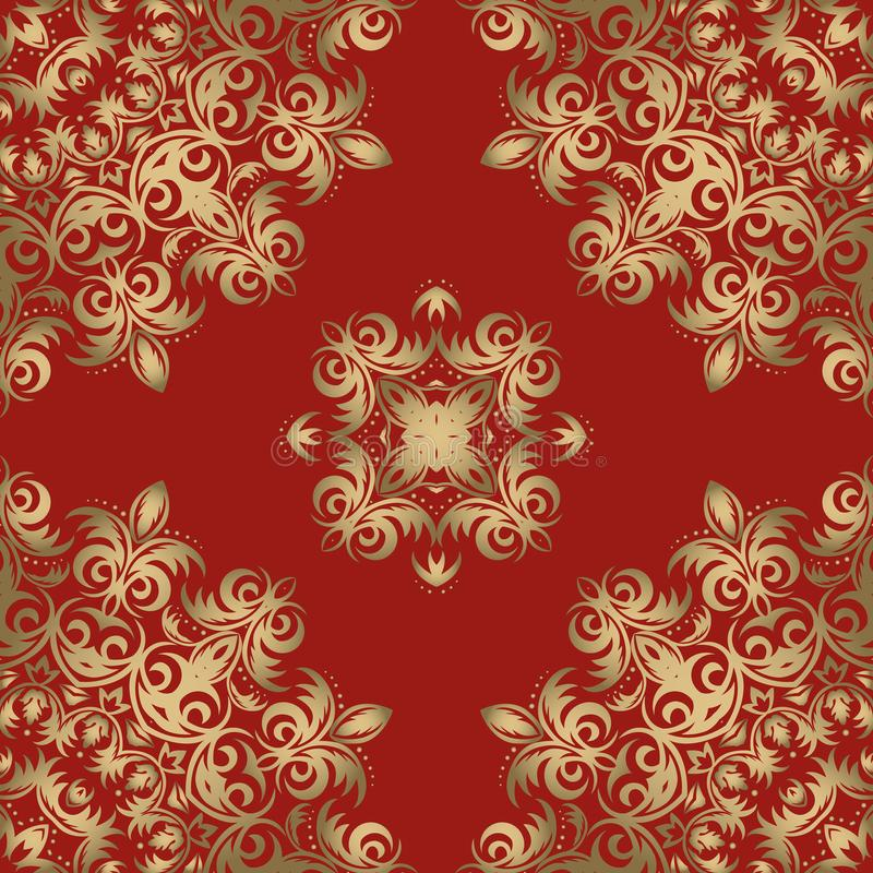 豪华无缝的装饰品 美好的传统东方金黄patte 皇族释放例证