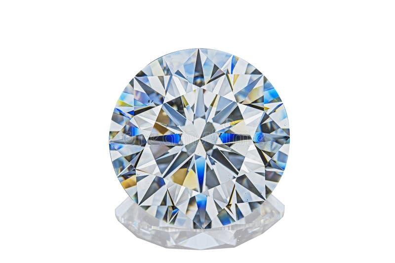 豪华无色的透明闪耀的宝石圆形切开了在白色背景的金刚石 免版税库存照片