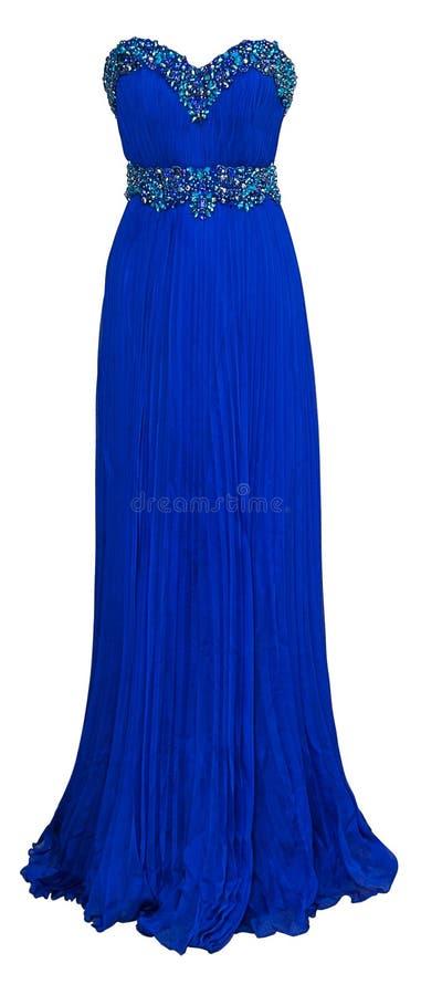 豪华有水晶、衣服饰物之小金属片和payets的晚上蓝色礼服在白色背景隔绝了 库存照片