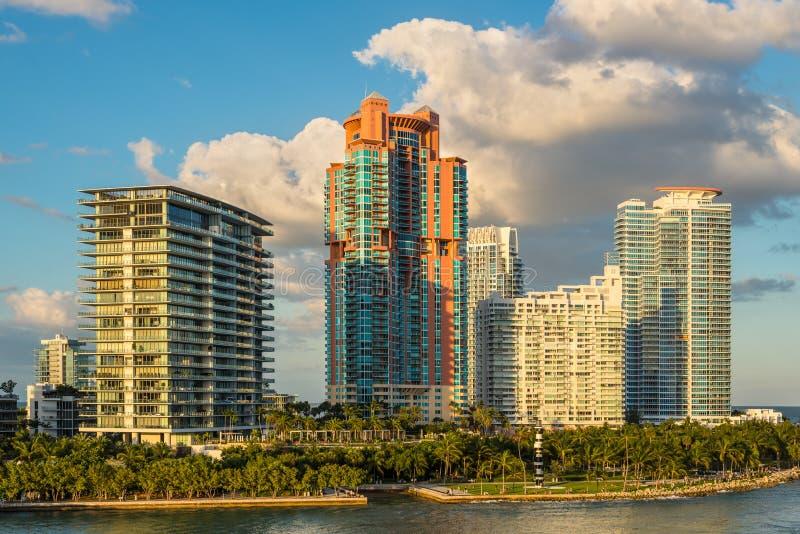 豪华江边家和南Pointe公园在迈阿密海滩,佛罗里达,美国 免版税图库摄影