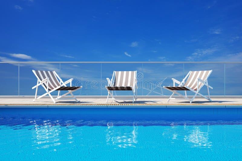 豪华池游泳 向量例证