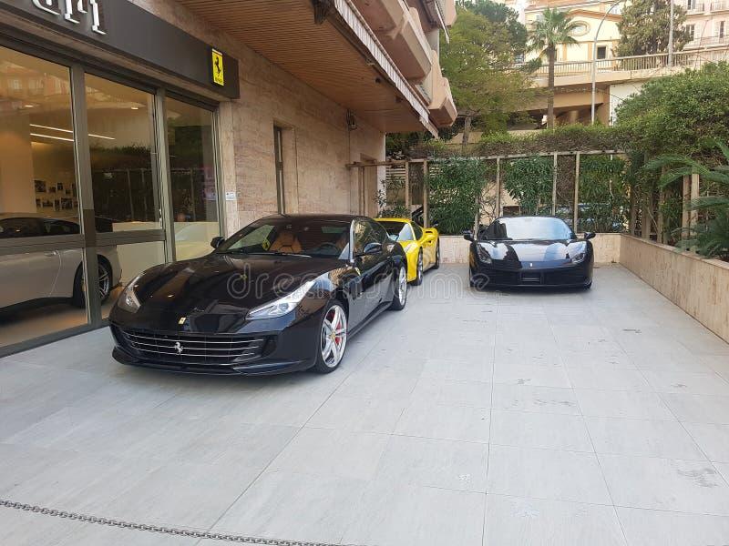 豪华汽车法拉利,摩纳哥 库存照片