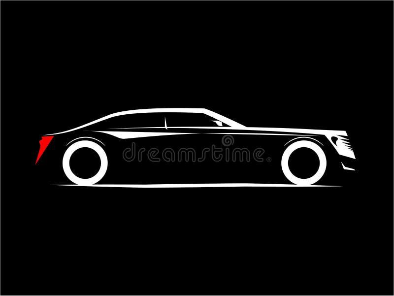 豪华汽车的剪影在黑背景的 向量例证