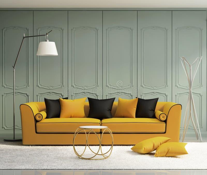 豪华浅绿色的客厅 向量例证