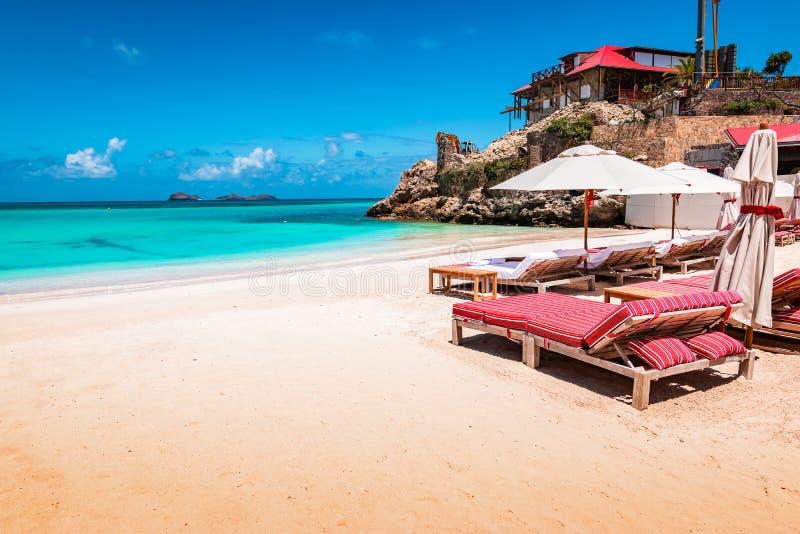 豪华海滩睡椅和伞在异乎寻常的海滩在圣Barths,加勒比岛 免版税图库摄影