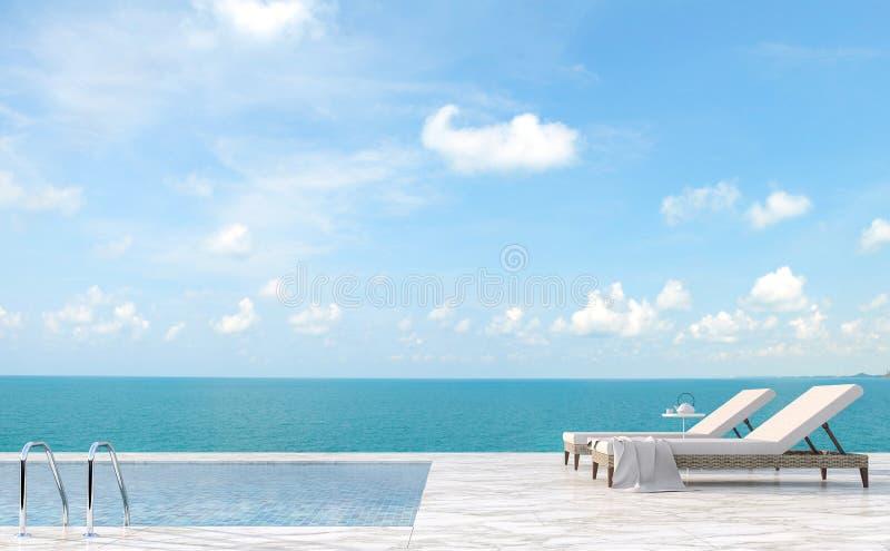 豪华游泳场大阳台有海图3d回报 向量例证