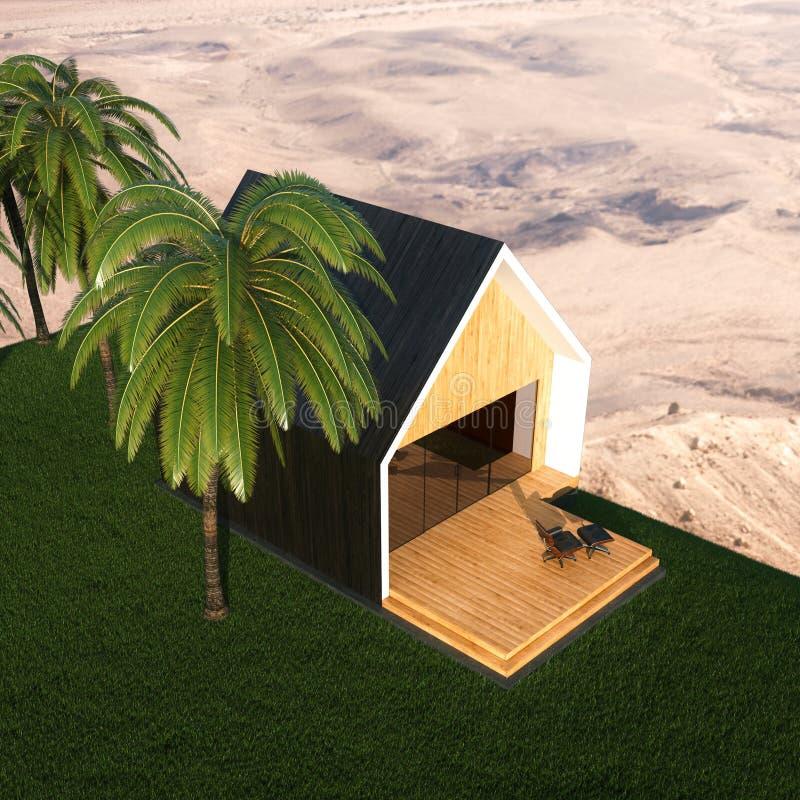 豪华热带别墅 棕榈和沙子 3d回报 免版税库存图片