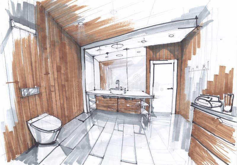 豪华现代卫生间的手工制造剪影,与镜子,watercloset的水槽在灰色和棕色颜色的铺磁砖的卫生间里 皇族释放例证