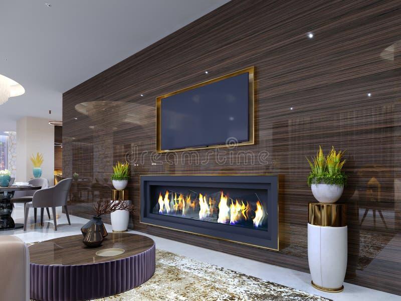 豪华现代壁炉在旅馆里,在一个舒适等候室、木墙壁有固定电视的和壁炉 立场为 库存例证