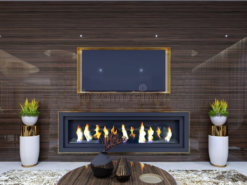 豪华现代壁炉在旅馆里,在一个舒适等候室、木墙壁有固定电视的和壁炉 立场为 皇族释放例证