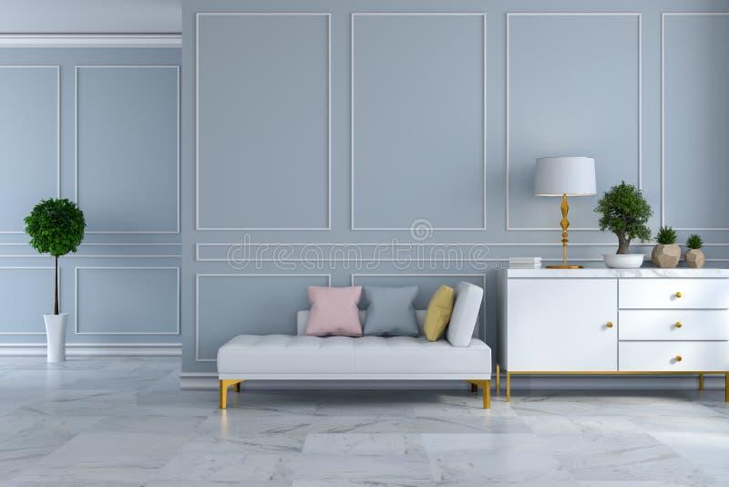 豪华现代室室内设计、白色沙发床有白色餐具柜的在浅灰色的墙壁上和大理石地板/3d回报 向量例证