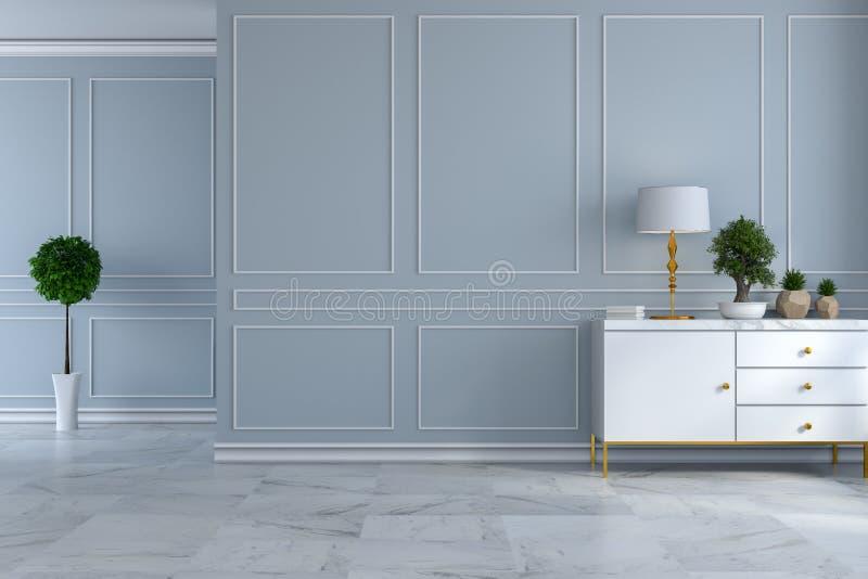 豪华现代室室内设计、空的室、白色餐具柜与灯和植物在浅灰色的墙壁和大理石地板/3d回报 向量例证