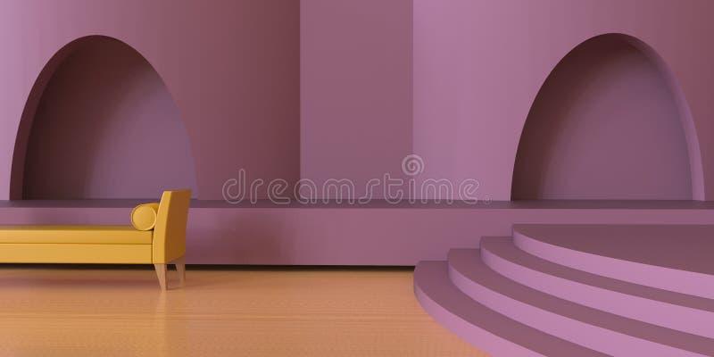 豪华现代居住当代区域和紫色桃红色黑白照片/显示 库存例证