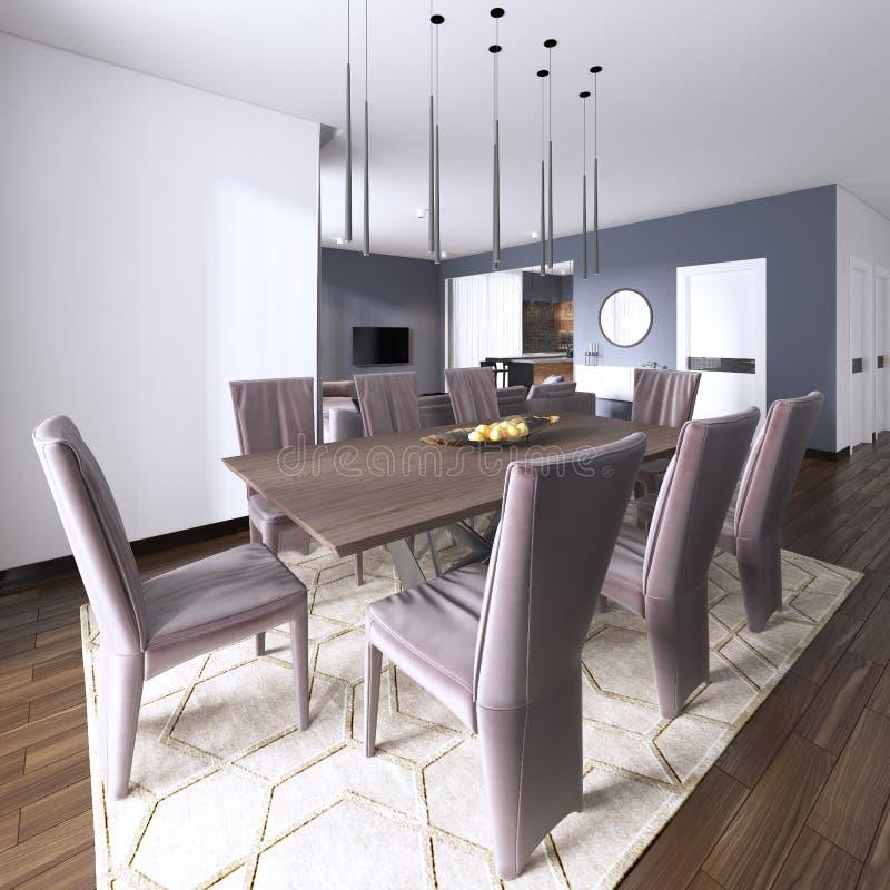 豪华现代餐厅吹嘘棕色皮革用餐照亮由下垂光和围拢的木饭桌 向量例证