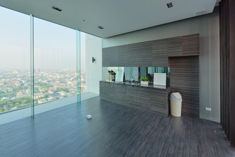 豪华现代厨房区域和装饰在公寓, interi 免版税库存照片