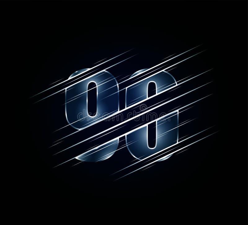 豪华玻璃第90的最快速度元素九十个字符 绿色黑暗的口气背景 r 库存例证
