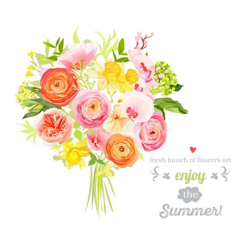 豪华的明亮的夏天花传染媒介设计集合 五颜六色的花卉对象 向量例证