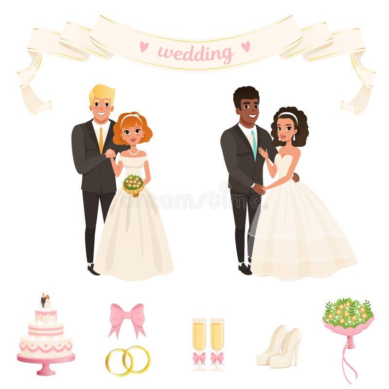 豪华的白色礼服的新娘,经典黑衣服的新郎 耦合可爱 婚礼辅助部件弓,圆环,香槟 向量例证