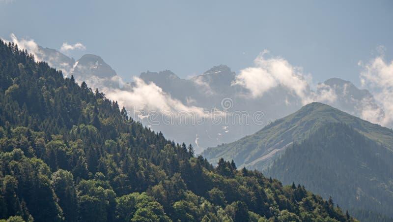 豪华的高山河谷和山峰 库存图片